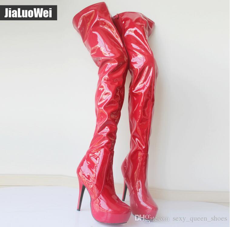 Ücretsiz Kargo 2018 yeni 15 CM yüksek topuklu Klasikleri Kasık Yüksek Çizmeler kadın Platformu Yuvarlak Ayak Ayakkabı diz boot over ...