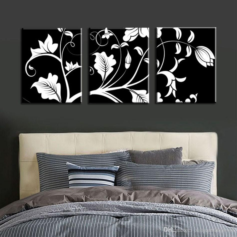 Unframed 3 Pcs Black White Flower Tree Modern Large HD Print Canvas Painting Art Picture For Living Room Home Wall Art Decor