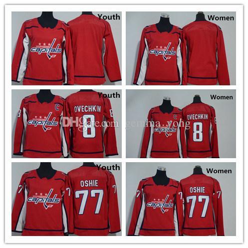 2018 Washington Capitals Jeunes Femmes 77 T J Oshie Chandails Hockey 8 Alex Ovechkin Uniforme Enfants Dames Chemises Rouge Blanc, Taille S-XL