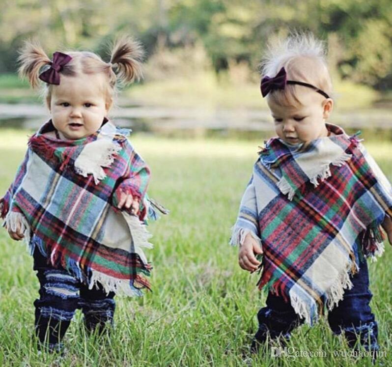 طفل الفتيات الشتاء منقوشة عباءة أطفال شال وشاح المعطف الكشمير عباءات أبلى الأطفال المعاطف والسترات الاطفال الملابس الملابس