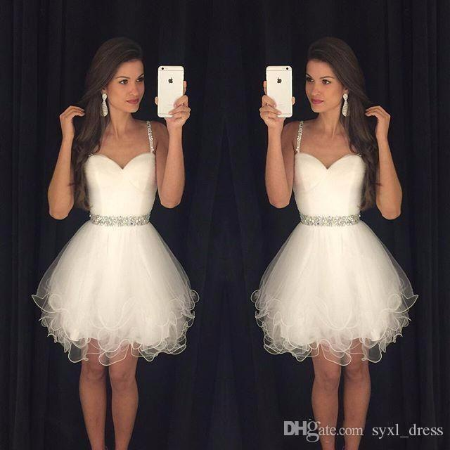Simple Sweetheart Homecoming Dresses Short White Spaghetti Straps Beaded Ruffles Graduation Party Dress Cheap Cocktail Dresses Prom Wear