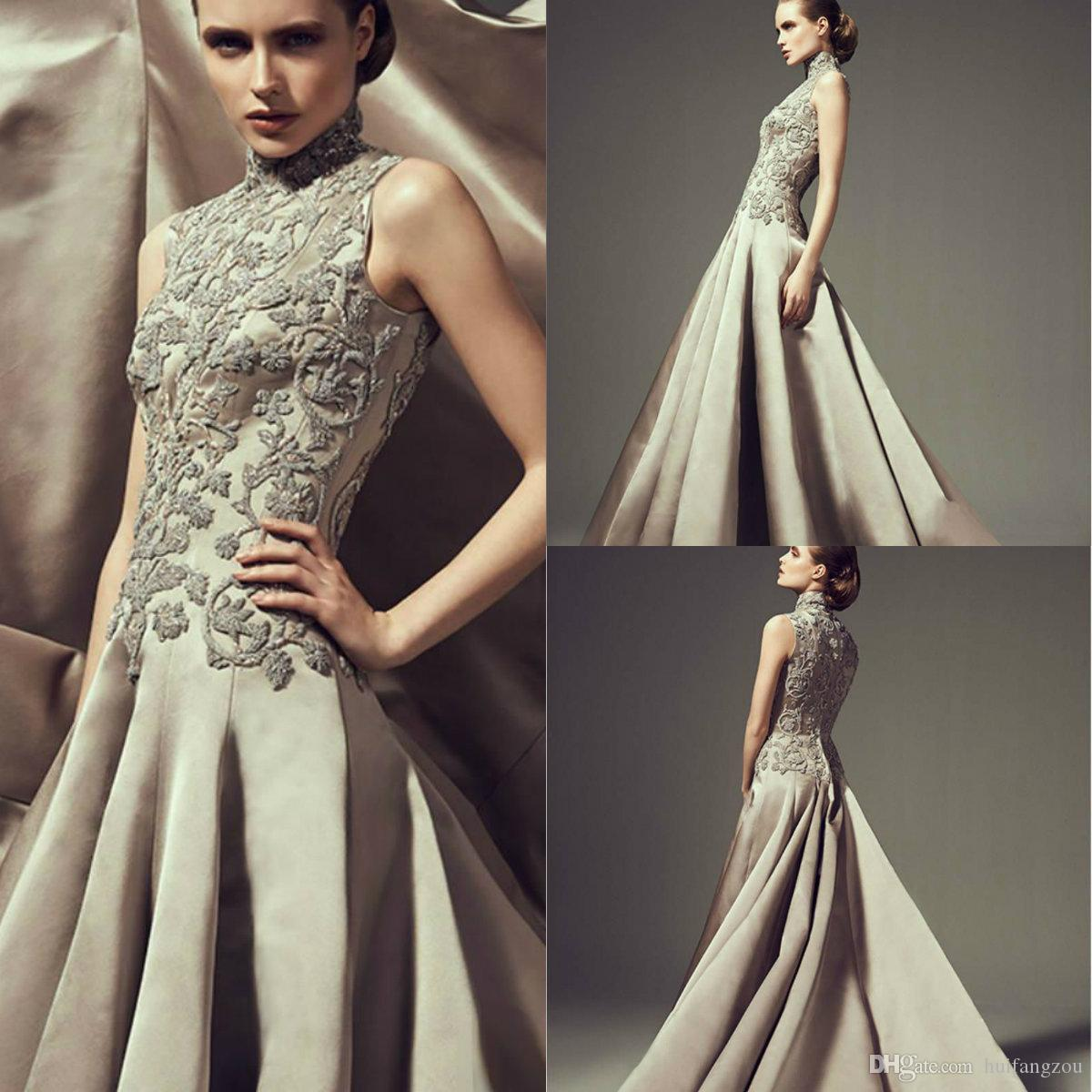 Ashi Studio 2018 Prom Dress A Line High Neck Champagne Applique Design Sweep Train Prom Dresses Custom Made Evening Gowns With Couture Prom Dresses Cute Short Prom Dresses From Huifangzou 138 31 Dhgate Com
