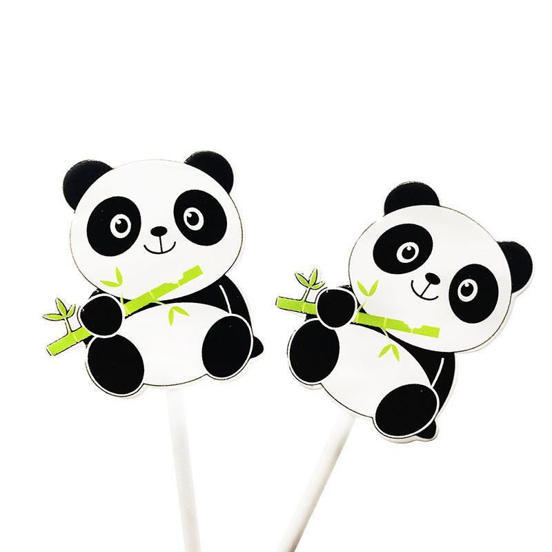 6 pz / pacco Panda tema cupcake topper Panda tema decorazioni torta di frutta bandiere torta topper