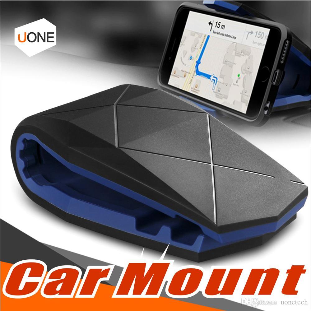 Universal Car Phone Holder Stand Adjustable Alligator Clip Vehicle-mounted Mobile Scaffold Holder Cradle Car Mount Bracket With Package
