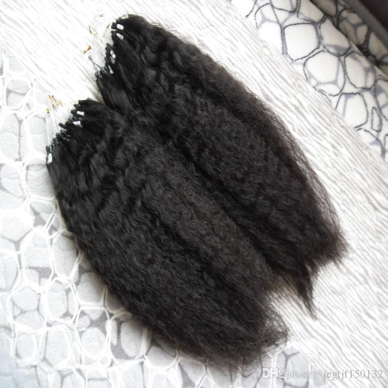 Grosso Yaki Micro loop extensões de cabelo humano 200g kinky em linha reta 100% Micro Humano Bead Links Machine Made Extensão Do Cabelo Remy Yaki