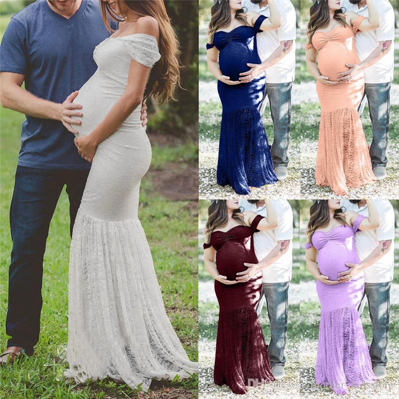 Maternity Women Dress Pregnant Sexy Photography Props Off Shoulders Short Sleeve Long Lace Maxi Maternity Gown Photo Shoot Dress