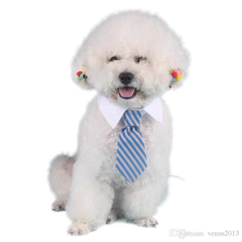 حار بيع كلب مخطط التعادل طوق القط القوس لطيف الكلب ربطة العنق الزفاف للتعديل جرو أحمر / أزرق / أصفر حرية الملاحة