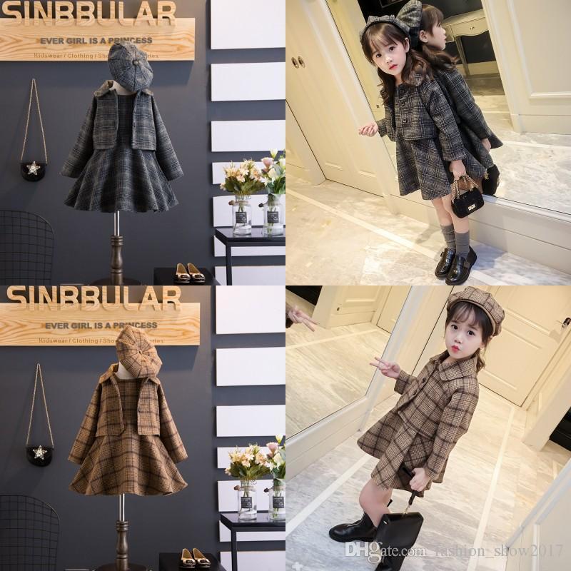 Ropa para niños coreanos Ins Chica Otoño e invierno Chaleco de lana Falda Escudo suelto Trajes de boina Traje de tres piezas