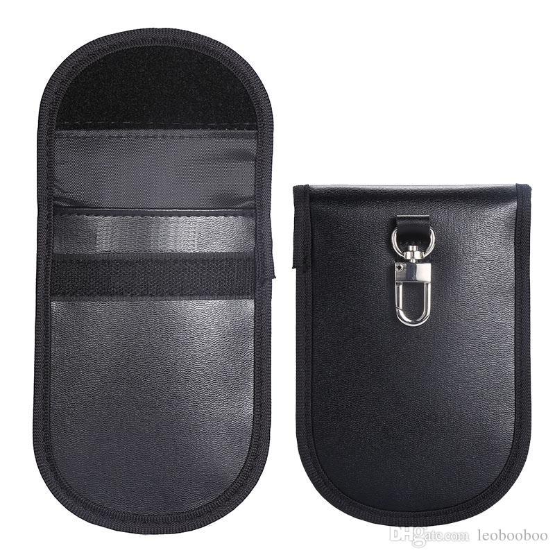 Key Fob Protector Device Pu Leather Anti-radiation Anti-spying GPS Rfid Signal Blocking Pouch Car Key Remotes Handset Function bag