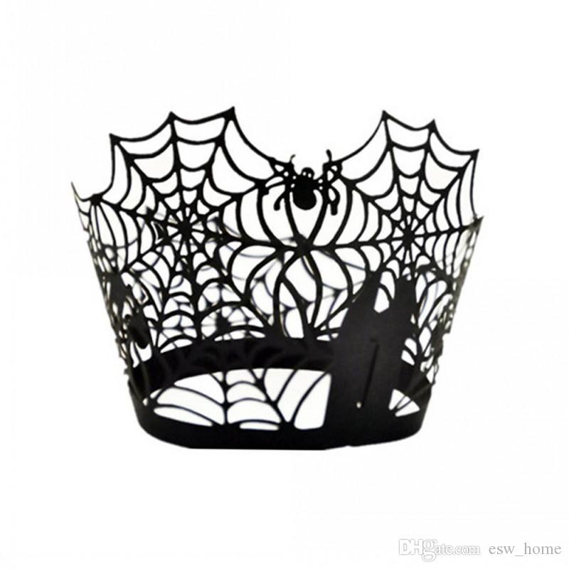 Spiderweb الليزر قطع ورقة كعكة مغلفة كبكك المتشددين الحالات الخبز كأس حالة الزفاف حفلة عيد ديكور (أسود)