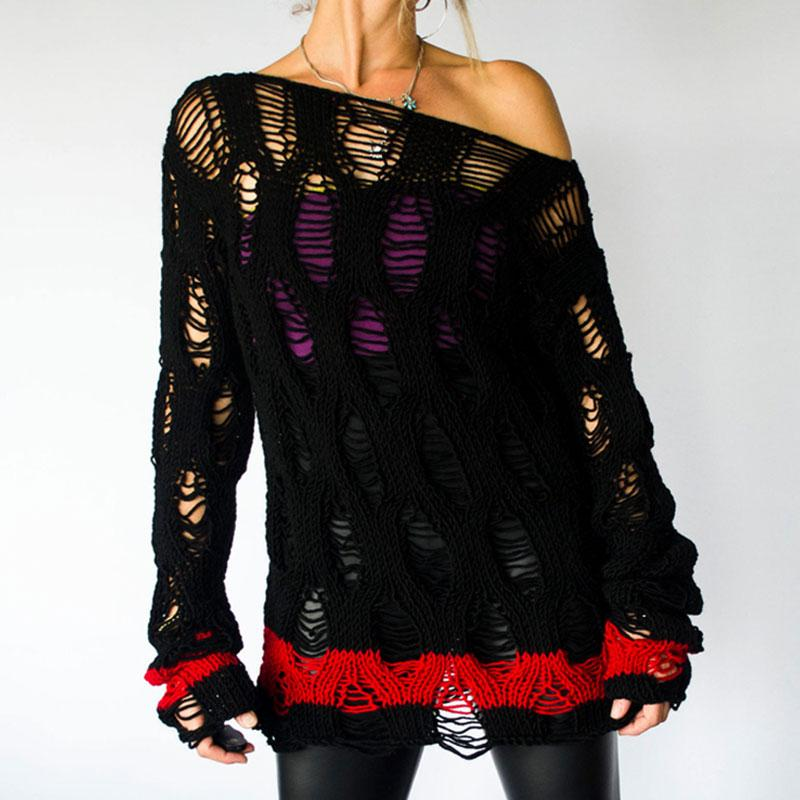Femmes Hole Ripped Sexy Pull À Tricoter Crochet Automne Pull Off Shouder Chandail Outwear Shrug Tops Dames Knit Jumpers Femme