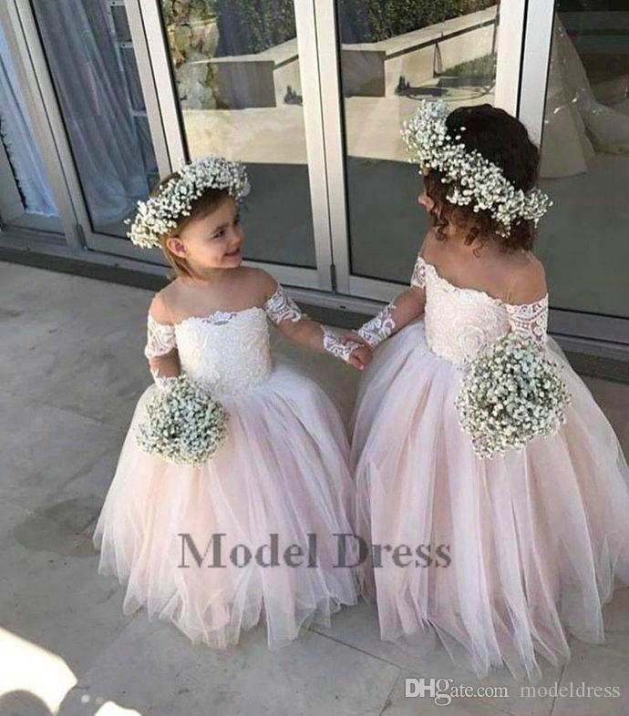 Ball Gown Flower Girls Dresses with Long Sleeves Illusion Lace Appliques Tulle Floor Length Sheer Neck Girls Pageant Dresses for Party
