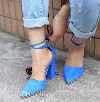 Style d'été en faux daim à lacets bloc talons chaussures orteil pointu sexy femmes pompes bride à la cheville talons hauts femmes chaussures