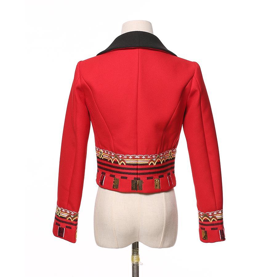Großhandel Designer Vintage Rote Kurze Jacke Frauen Herbst Winter Stickerei Jacke Rot Langarm Dünne Strickjacke Mode Paillettenjacken Von Love8love,