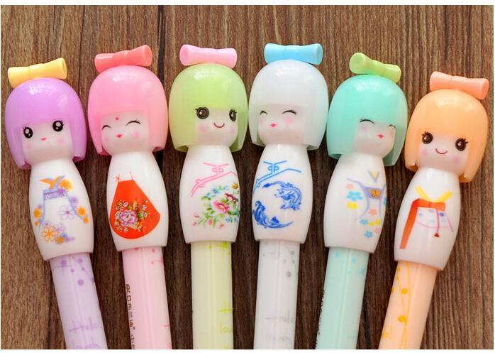 Wholesale-X17 4X Kawaii Kimono Japanese Girl Doll Gel Pen Writing Signing Stationery Creative Gift School Office Supply