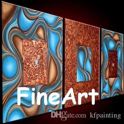 hand-painted 3 piece wall art blue orange canvas painting textured oil modern artwork nature abstract painting unique gifts