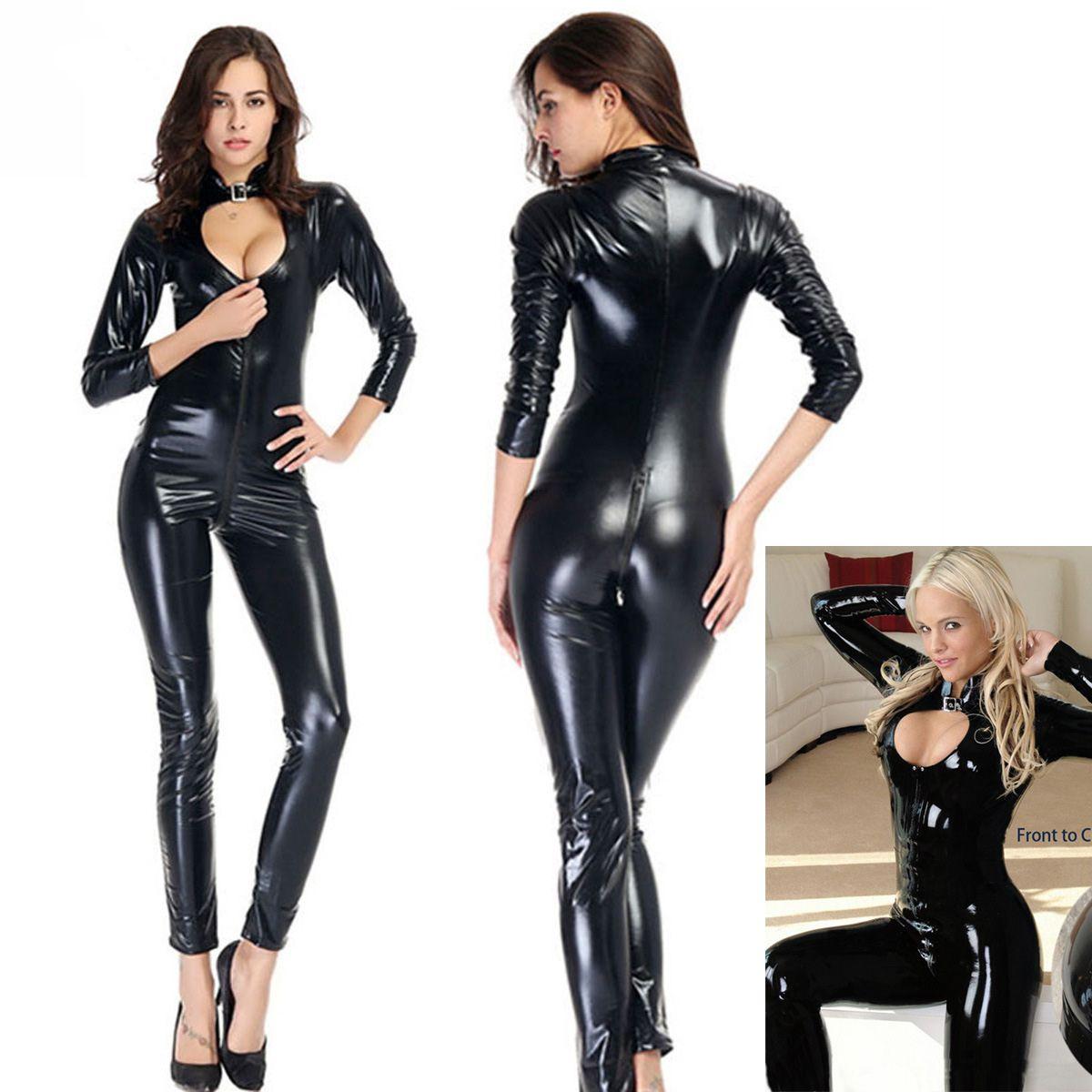 Erotic chiusura lampo anteriore Fetish Wear 50% pelle lucida Wetlook PVC Catsuit aperto sexy della biforcazione AV Costume Nero Body Intimo