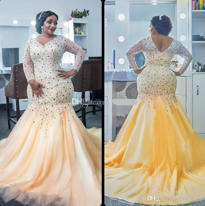 .Elegant Plus Size Evening Dresses Beaded Shiny Crystal Long Sleeves Prom Dress African Mermaid Evening Party Dress For Women Gowns