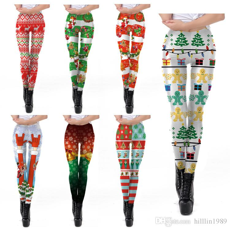 New Style Women Fitness Leggings Polyester Red Christmas Striped Print Leggings Santa Claus Digital Print Trousers Stretch Pants