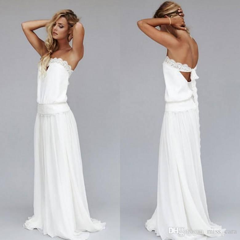 Vintage 1920s Beach Wedding Dresses Cheap Dropped Waist Strapless Backless Boho Bridal Gowns Lace Ribbon Custom Made Bohemian Wedding Dress