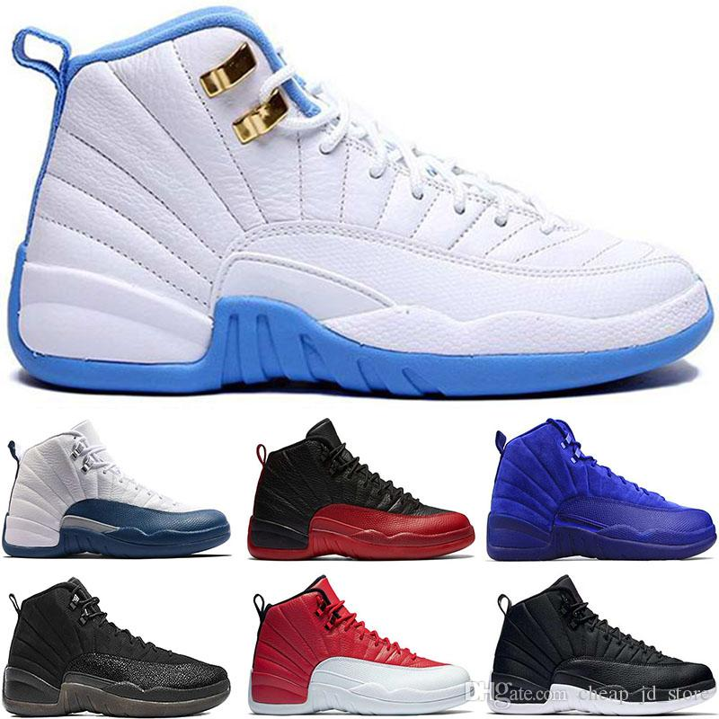 2019 Chaussures de basket-ball 12 Université bleu Hommes sport taxi séries éliminatoires haut Deep Royal Blue loup gris Baskets de sport taille 41-47