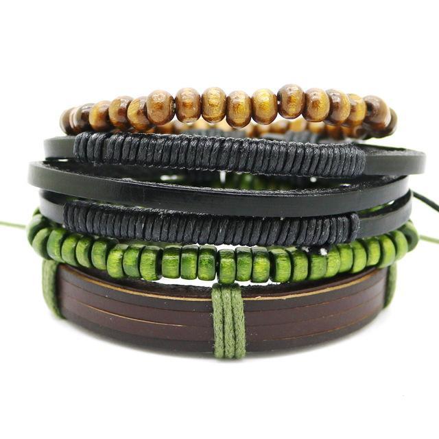 10sets Bracelet En Cuir Hommes S Multicouche Perle Bracelet Femmes '; S Rétro Punk Casual Hommes'; S Bijoux Bracelet Bijoux Accessoires