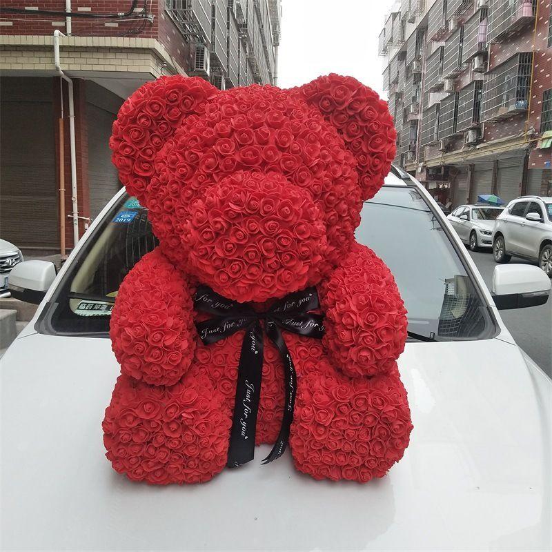 40 سم ارتفاع روز الدب هدية عيد الحب الحفاظ ارتفع الطازجة زهرة الرومانسية اصطناعية لعبة من الزهور تحمل هدية زهرة المرأة