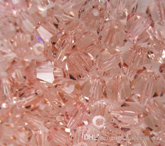 500pcs Peach Pink 4mm 6mm #5301 Bicone glass crystal beads DIY Jewelry making