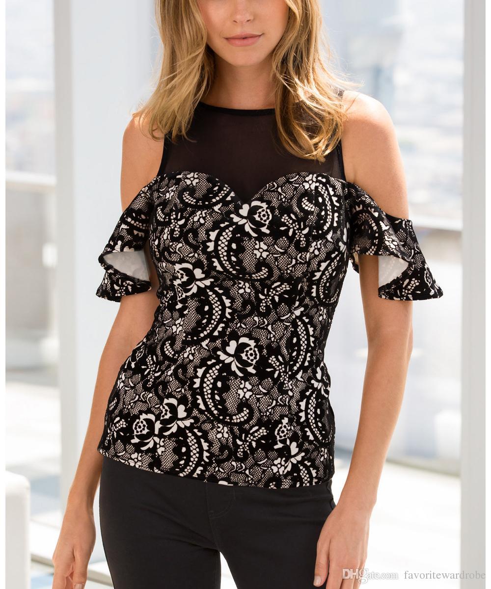 29343284670e58 Women Cold Shoulder Floral Lace Crop Top Blouse Shirt Hilarious T ...