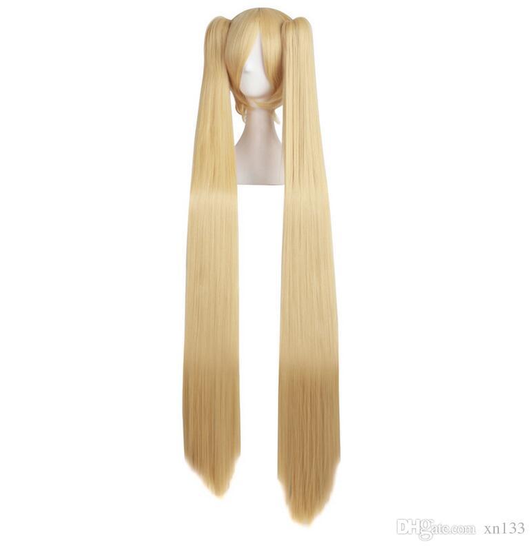 lange gerade cosplay perücken blond blau 2 pferdeschwänze 120 cm kostüm party form klaue synthetische falsche haare frauen perücke