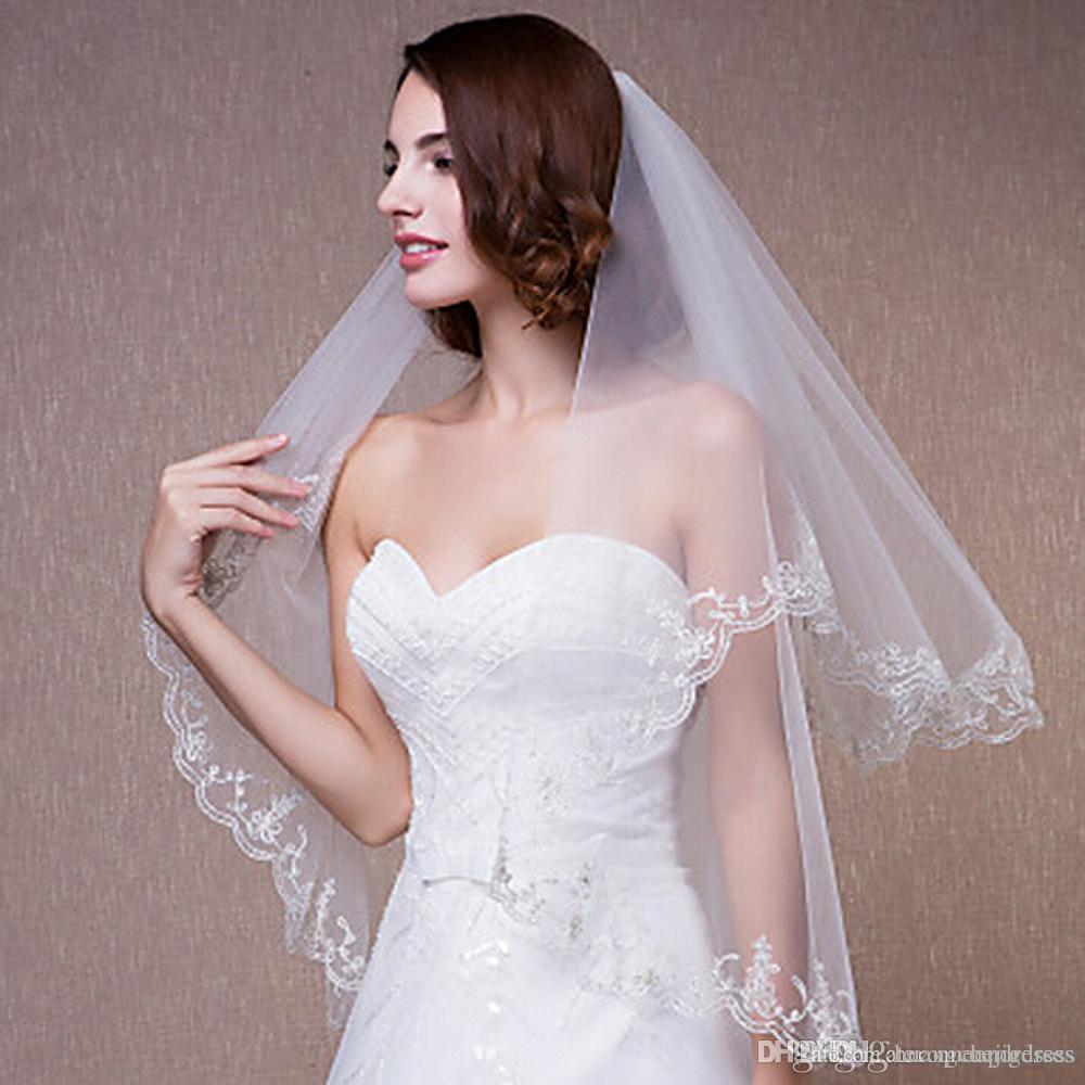 Nova Barato Em Estoque Comprimento Cotovelo 2 Camadas de Noiva Véu Com Applique Lace Véus De Noiva de Tule Branco Marfim para Eventos de Casamento Online