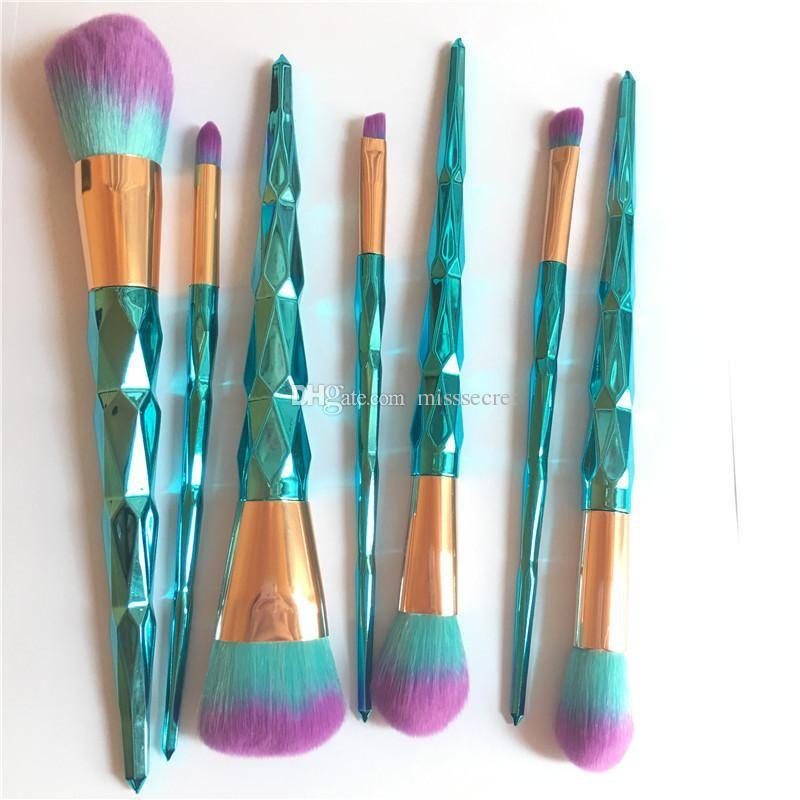 7pcs / set Blaue Farben-Diamant-Make-up Pinsel Set Professionelle Make-up Pinsel Make-up-Werkzeuge für Lidschatten AugenbraueEyeliner Powder Pinsel