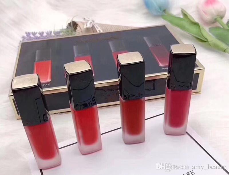 EN STOCK !! Maquillaje caliente Mate Lápiz Labial Líquido 4 colores Brillo de Labios 4 unids / set Lipkit DHL envío