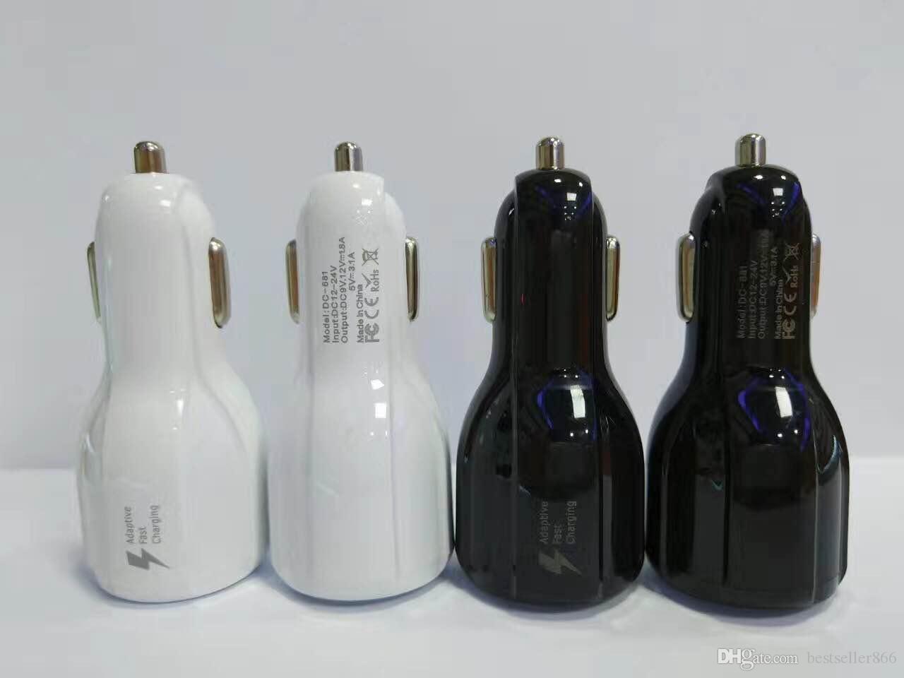 العالمي المزدوج USB 3.1a 5V 9V 12V شاحن سيارة سريع لسامسونج S8 S8 زائد آيفون 7 7plus 6S أسود أبيض