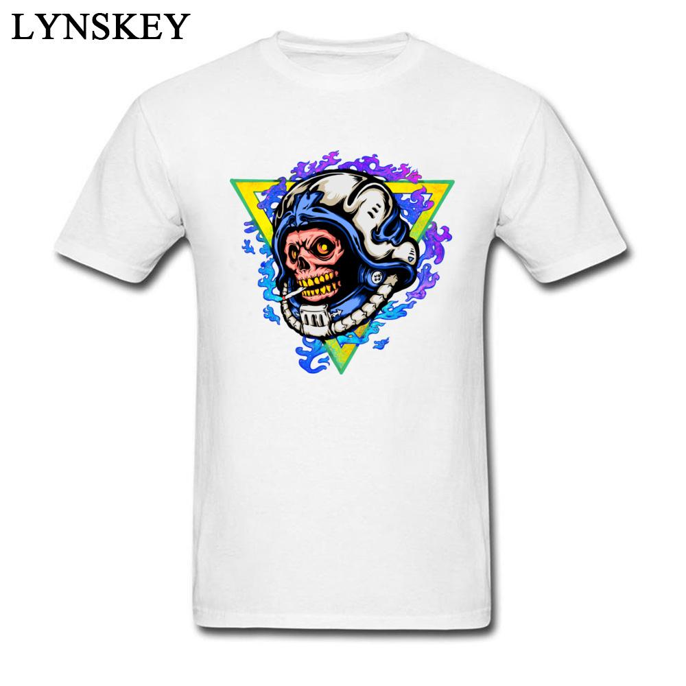 Fashion Dead Astronaut Funny Skull Print Men T-shirts Colorful Design Tops Tees Cotton Clothes O-neck Personalized