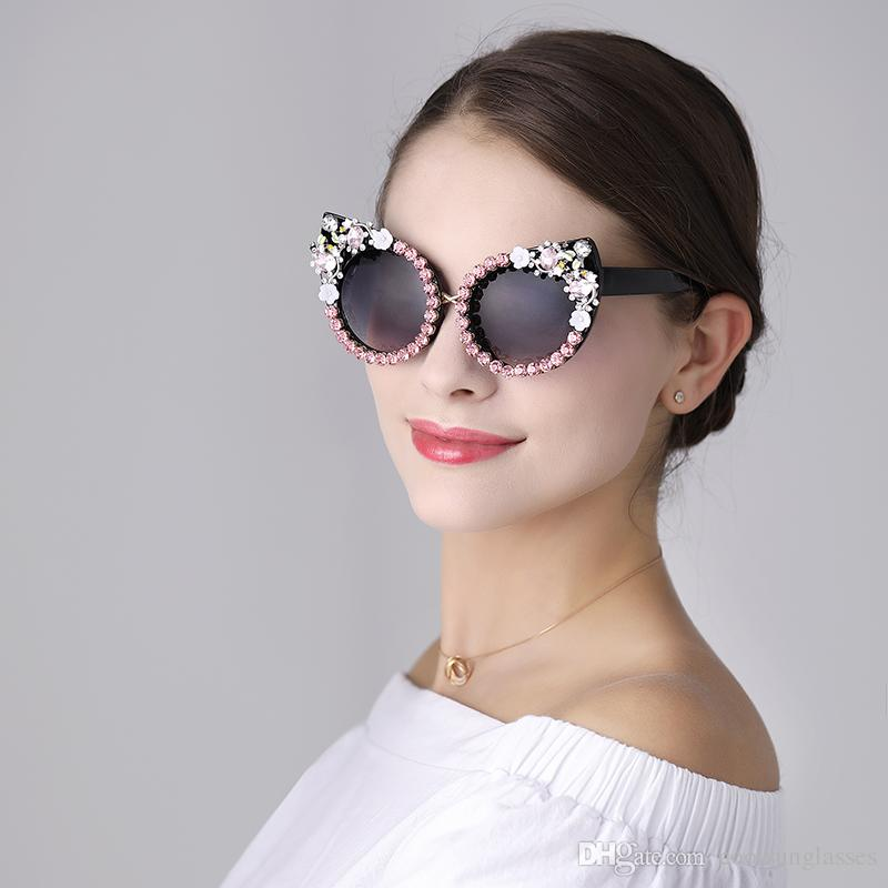 occhiali da sole firmati per donna occhiali da sole strass Cat Eyes fashion Occhiali da sole Vintage Shades per donna Dropshipping