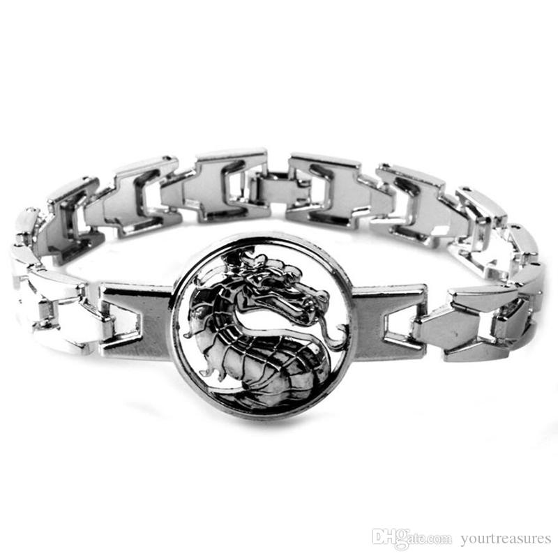 10Pcs Mortal Kombat Bracelet Bangle Cool Dragon Link Chain Punk Charm Bracelets Women Men Game Jewelry