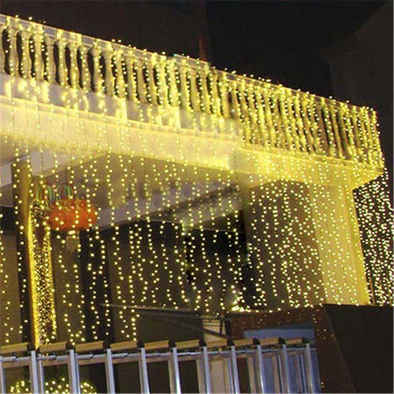 10 m * 3 m Açık 1000 LED Noel Dize Peri Perde Işıkları Flaş Pırıltı Tatil Lambası Topu Tatil Düğün parti Dekorasyon 5 adet / grup