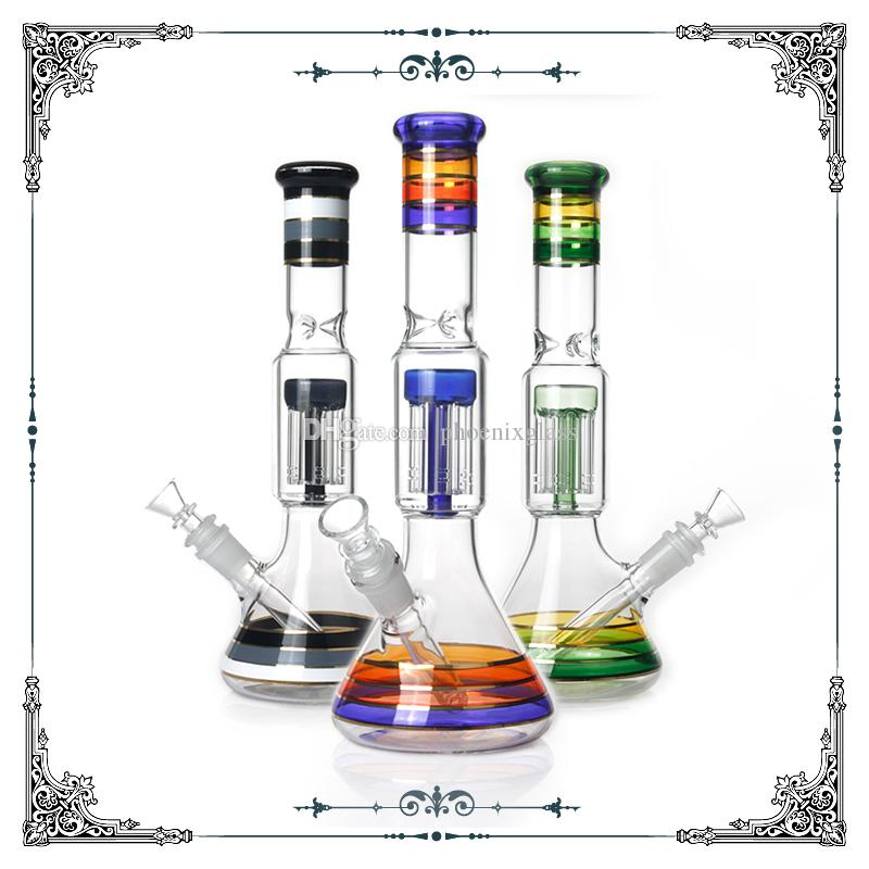 2018 new 12 inch Colorful glass beaker bongs with 6 arms percolator glass bong water pipe heady glass smoking pipe hookah free shipping