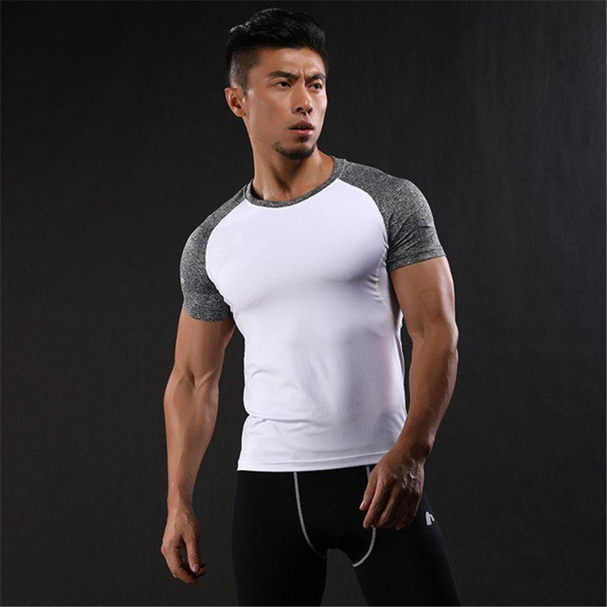 2018 Tuta da uomo estiva da uomo T-shirt da ginnastica sportiva stretch elasticizzata GYMS Bodybuilding Asciugatura rapida Fitness da uomo