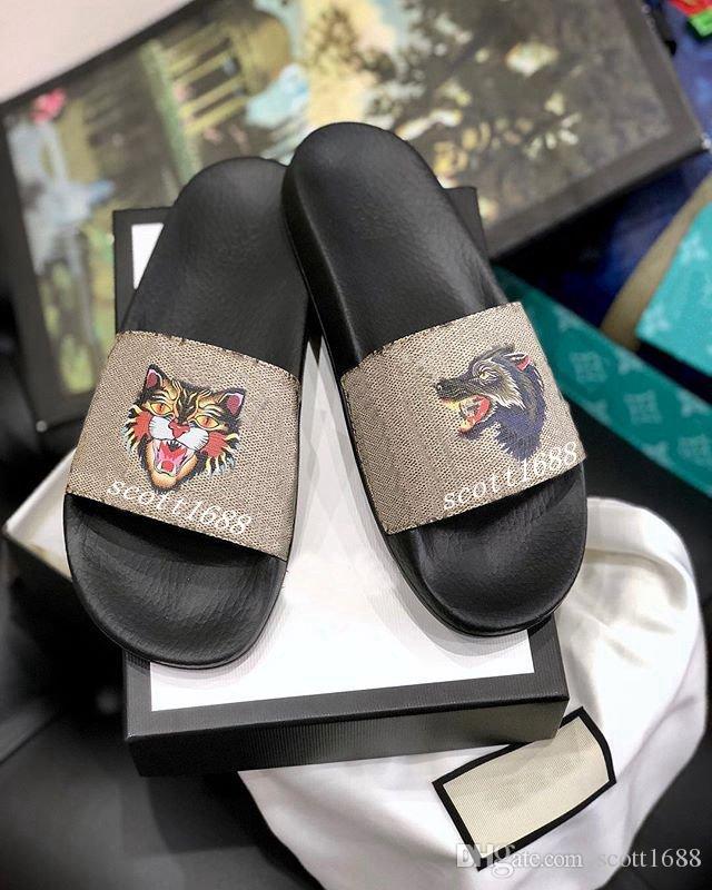 uomo e donna arrabbiato lupo arrabbiato gatto sandali scivolo di gomma infradito pantofole causali piatte moda street style
