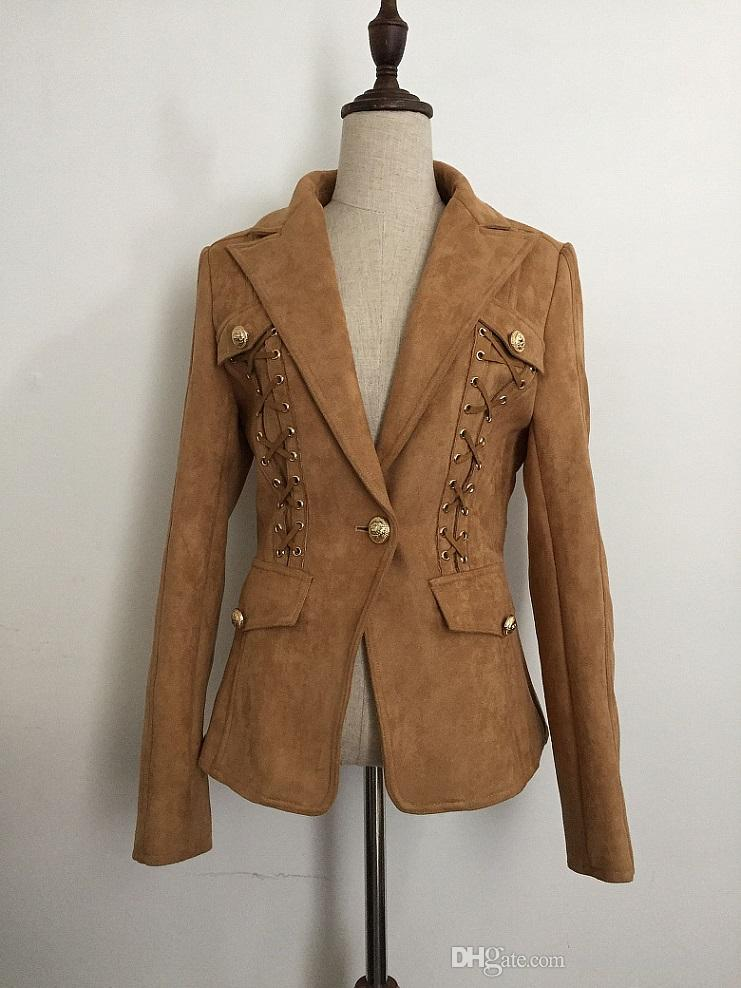 New with label Brand B Top Quality Original Design Women's Slim Leather Jacket Metal Buckles Deerskin Suede Jacket