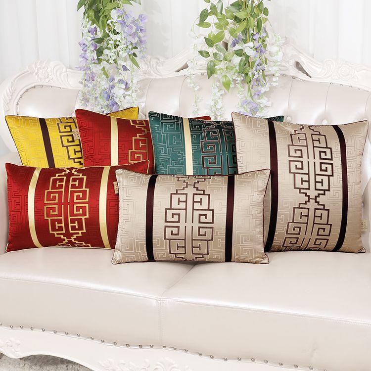 Classic Luxury Jacquard Sofa Chair Car Cushion Lumbar Pillow Home Office Decoration Back Cushion Chinese style Throw Pillow
