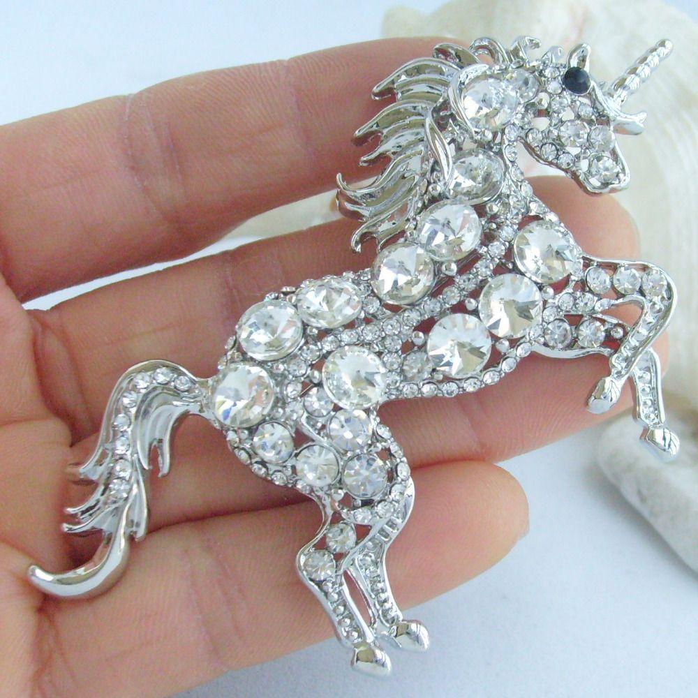Einzigartige Tier Einhorn Pferd Brosche Pin Anhänger klare österreichischen Kristall EE06172C1