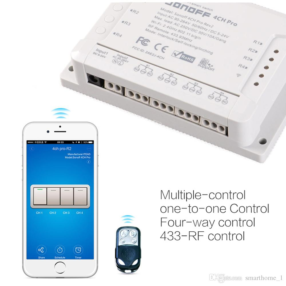 Itead Sonoff 4CH Pro Pro R2 actualizado Smart Wifi Switch Inicio 433MHz RF Wifi Light Switch 4 Gang 3 Modos de trabajo Inch Inlock con Alexa