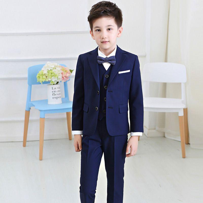 Yakışıklı erkek takım elbise mavi tek göğüslü takım üç parçalı takım elbise (ceket + pantolon + yelek) erkek parti mezuniyet töreni resmi elbise
