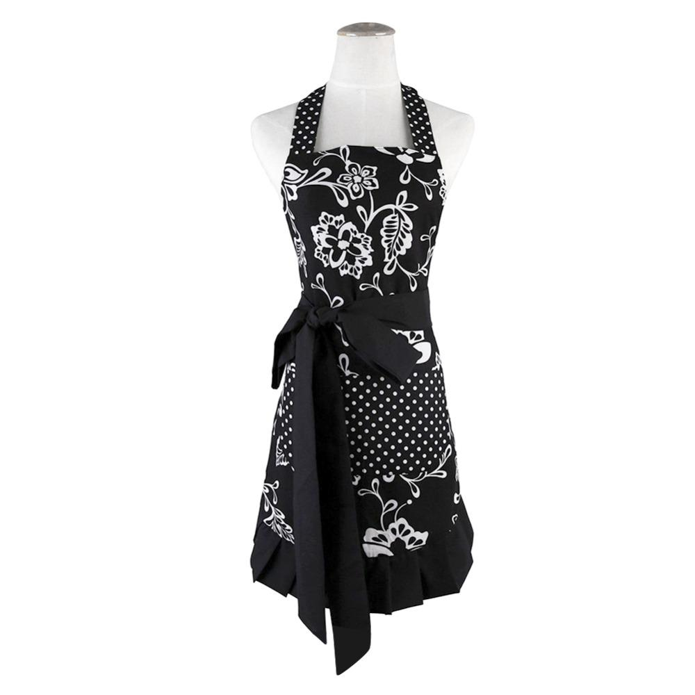Plus Size Retro Vintage Women Cute Black Apron Two Pockets 100% Organic Coon Extra-long Tie Kitchen Apron for Baking Cooking