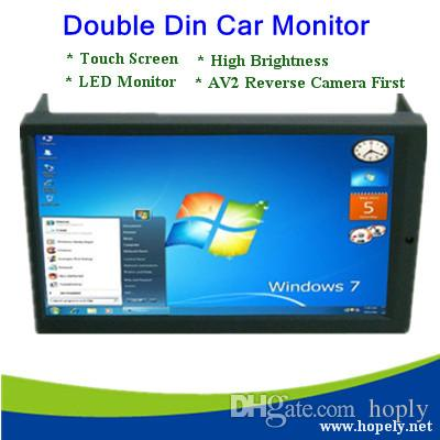 """Ücretsiz Kargo Yüksek Parlaklık 6.95 """"Çift DIN VGA Dokunmatik Ekran AV2 Ters Kamera ile LED Araç Monitör İlk"""