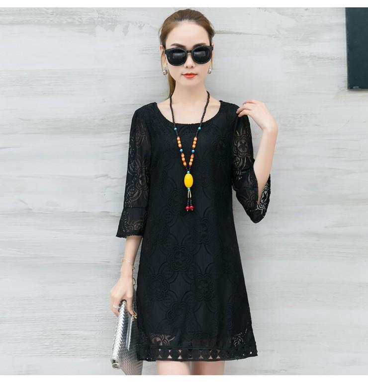 New Women Dress Summer Casual Hollow Lace Dresses Ladies Half Sleeve Vestidos Mujer Dress Plus Size White Robe Femme Mode 2018 (7)