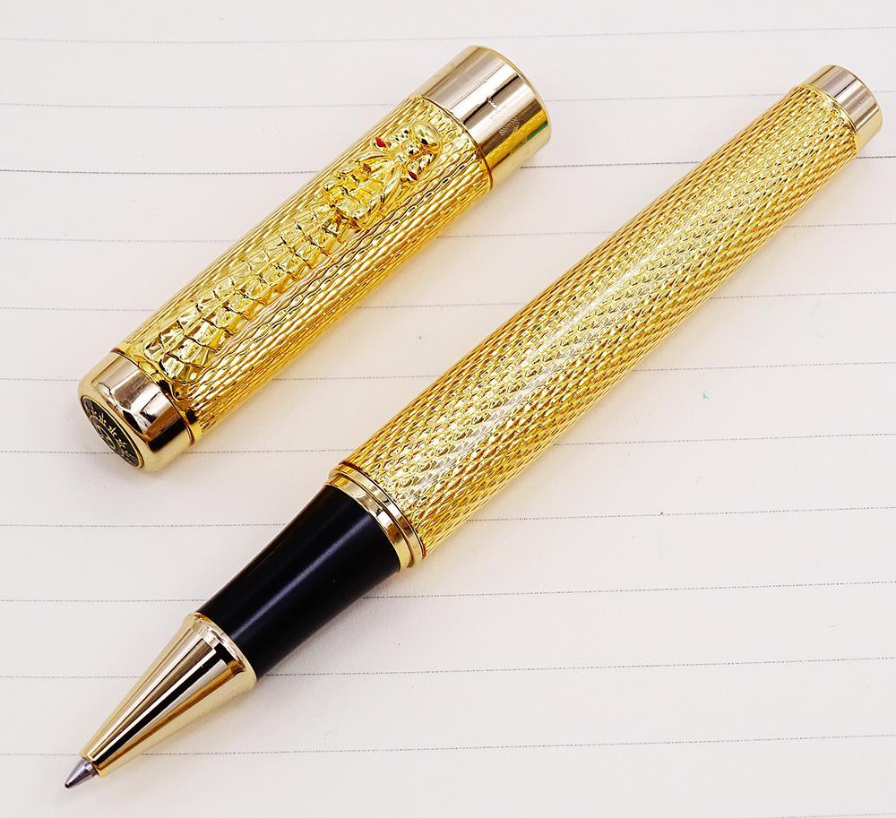 Jinhao Golden Luxurious Roller Pen Classic Style Dragon Clip Writing pen